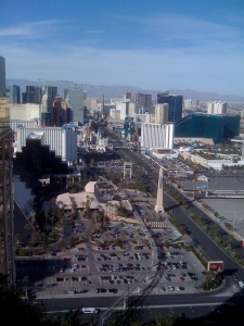 This is an amazing view from above the penthouse rooms in Mandalay Bay.  Thanks House Of Blues!