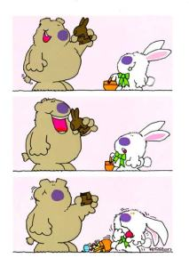 Bear Eating Easter Bunny