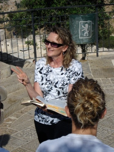 Mom teaching on the Mount of Olives.